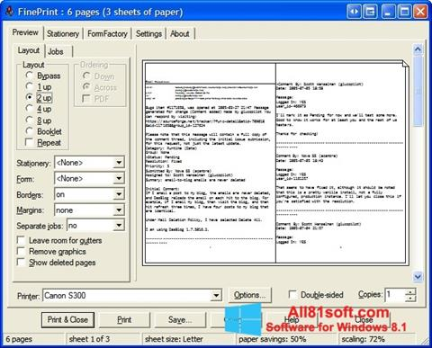 Ekraanipilt FinePrint Windows 8.1