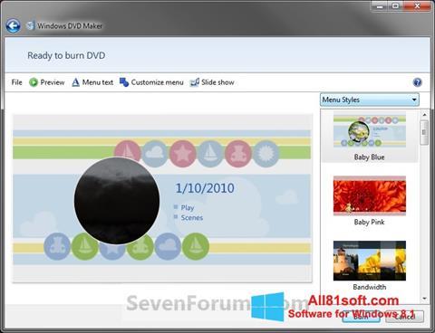 Ekraanipilt DVD Maker Windows 8.1