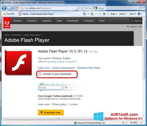 Ekraanipilt Adobe Flash Player Windows 8.1