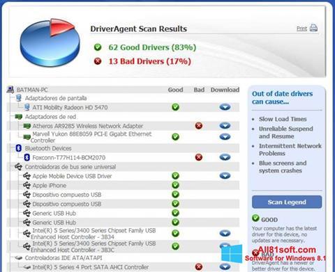 Ekraanipilt DriverAgent Windows 8.1