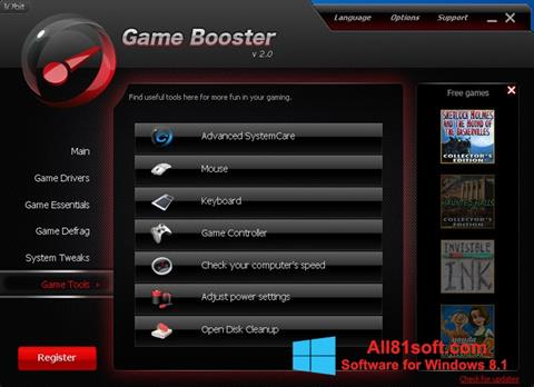 Ekraanipilt Game Booster Windows 8.1