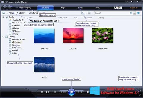 Ekraanipilt Media Player Windows 8.1