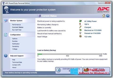 Ekraanipilt PowerChute Personal Edition Windows 8.1