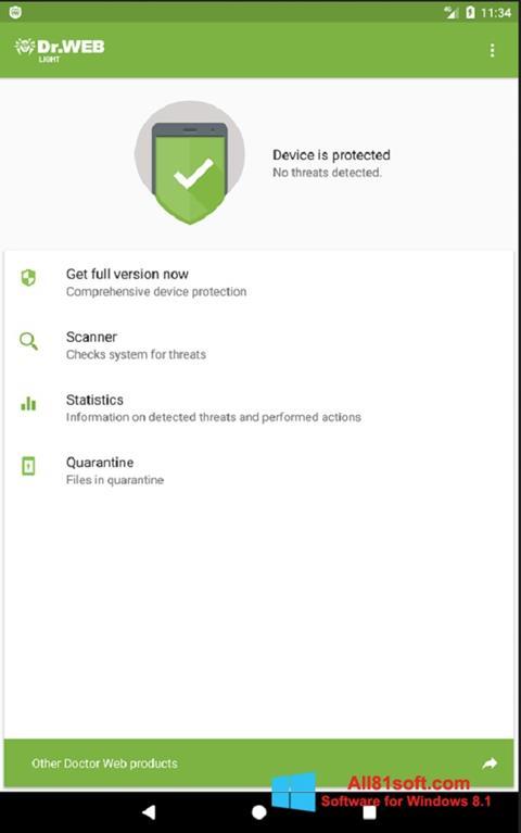 Ekraanipilt Dr.Web Light Windows 8.1