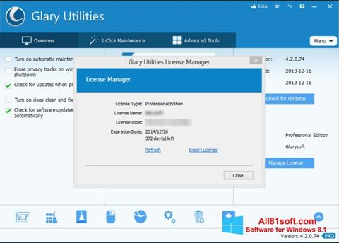Ekraanipilt Glary Utilities Windows 8.1