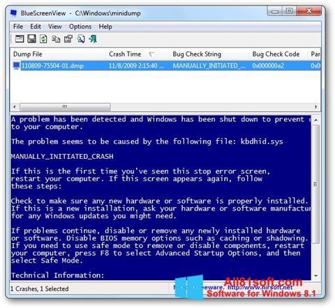 Ekraanipilt BlueScreenView Windows 8.1