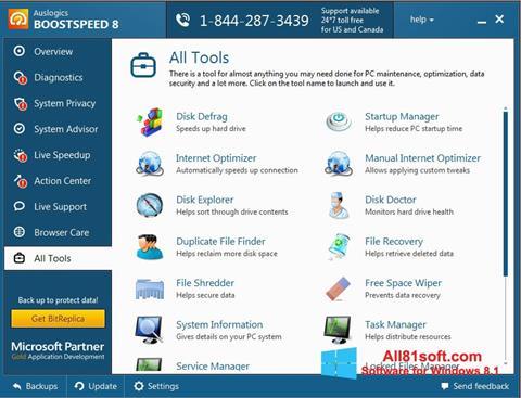 Ekraanipilt Auslogics BoostSpeed Windows 8.1