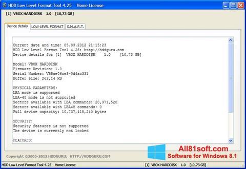 Ekraanipilt HDD Low Level Format Tool Windows 8.1