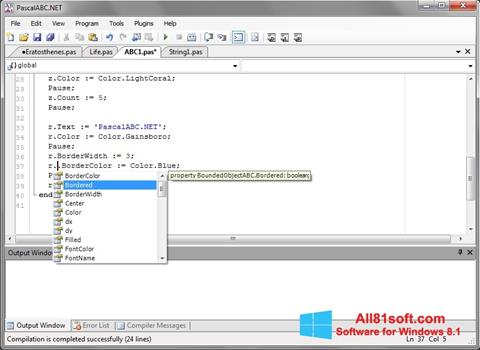 Ekraanipilt Pascal ABC Windows 8.1