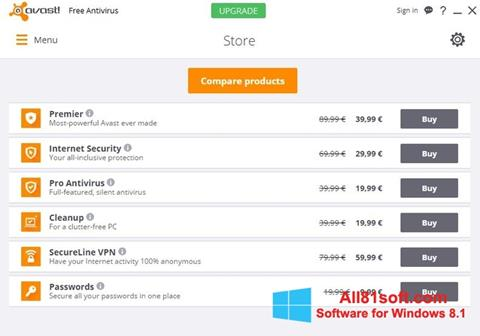 Ekraanipilt Avast Free Antivirus Windows 8.1