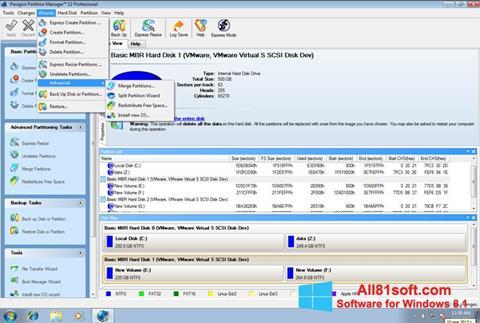 Ekraanipilt Paragon Partition Manager Windows 8.1