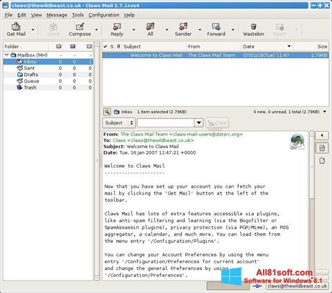 Ekraanipilt Claws Mail Windows 8.1