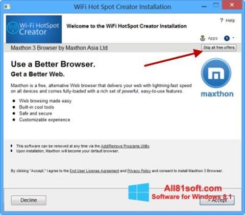 Ekraanipilt Wi-Fi HotSpot Creator Windows 8.1