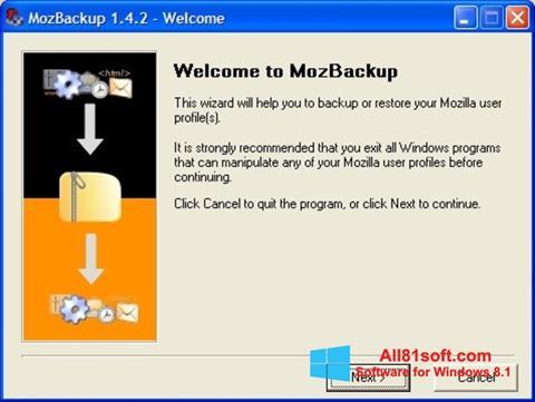 Ekraanipilt MozBackup Windows 8.1