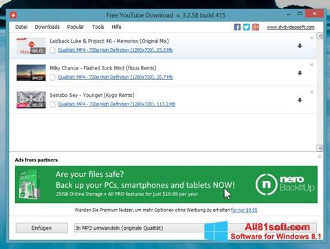 Ekraanipilt Free YouTube Download Windows 8.1