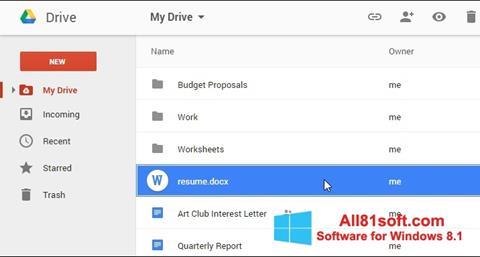 Ekraanipilt Google Drive Windows 8.1