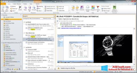 Ekraanipilt Microsoft Outlook Windows 8.1