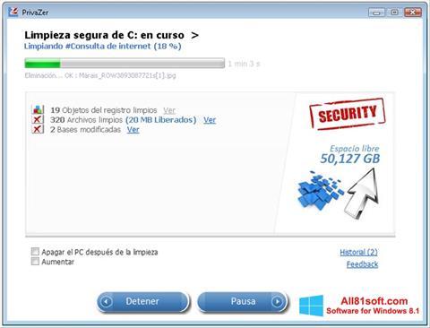 Ekraanipilt PrivaZer Windows 8.1