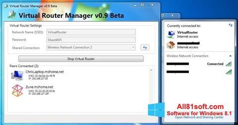 Ekraanipilt Virtual Router Manager Windows 8.1