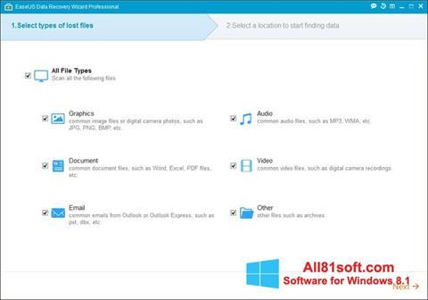 Ekraanipilt EaseUS Data Recovery Wizard Windows 8.1