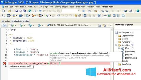 Ekraanipilt phpDesigner Windows 8.1