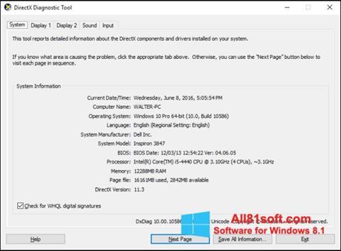 Ekraanipilt DirectX Windows 8.1