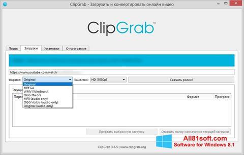Ekraanipilt ClipGrab Windows 8.1