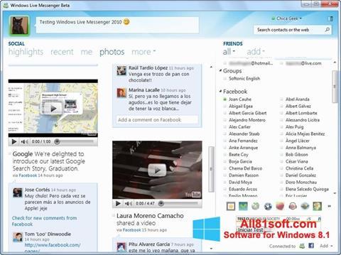 Ekraanipilt Windows Live Messenger Windows 8.1