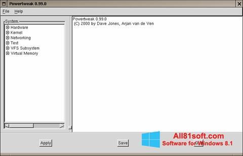 Ekraanipilt PowerTweak Windows 8.1