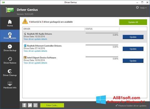 Ekraanipilt Driver Genius Windows 8.1