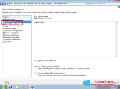 Ekraanipilt Outlook Express Windows 8.1