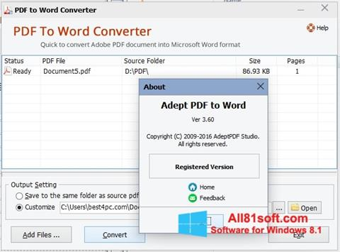 Ekraanipilt PDF to Word Converter Windows 8.1