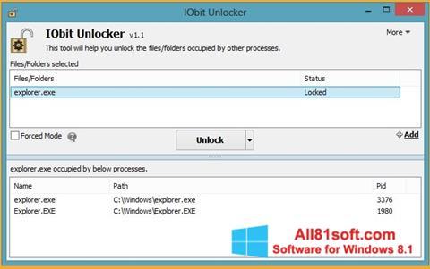 Ekraanipilt IObit Unlocker Windows 8.1