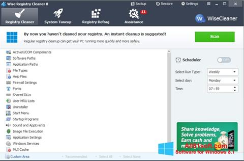 Ekraanipilt Wise Registry Cleaner Windows 8.1