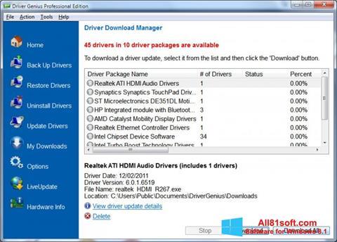 Ekraanipilt Driver Genius Professional Windows 8.1