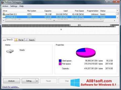 Ekraanipilt Defraggler Windows 8.1