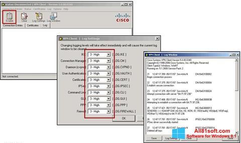 Ekraanipilt Cisco VPN Client Windows 8.1