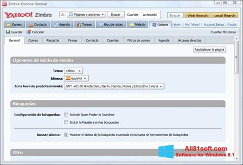 Ekraanipilt Zimbra Desktop Windows 8.1