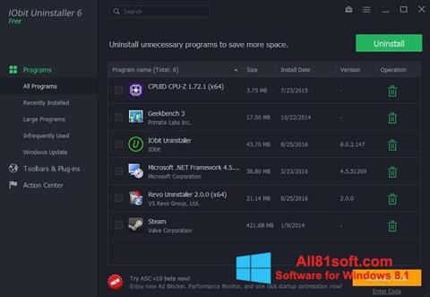 Ekraanipilt IObit Uninstaller Windows 8.1